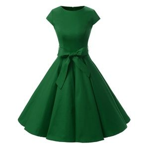 1950s Retro Rockabilly Cap Sleeve Prom Dresses
